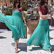 Одежда handmade. Livemaster - original item Sundress skirt 2 suns 3 colors satin and georgette. Handmade.