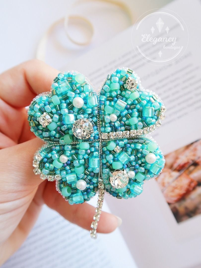 Four-leaf clover brooch ' turquoise luck', Brooches, St. Petersburg,  Фото №1