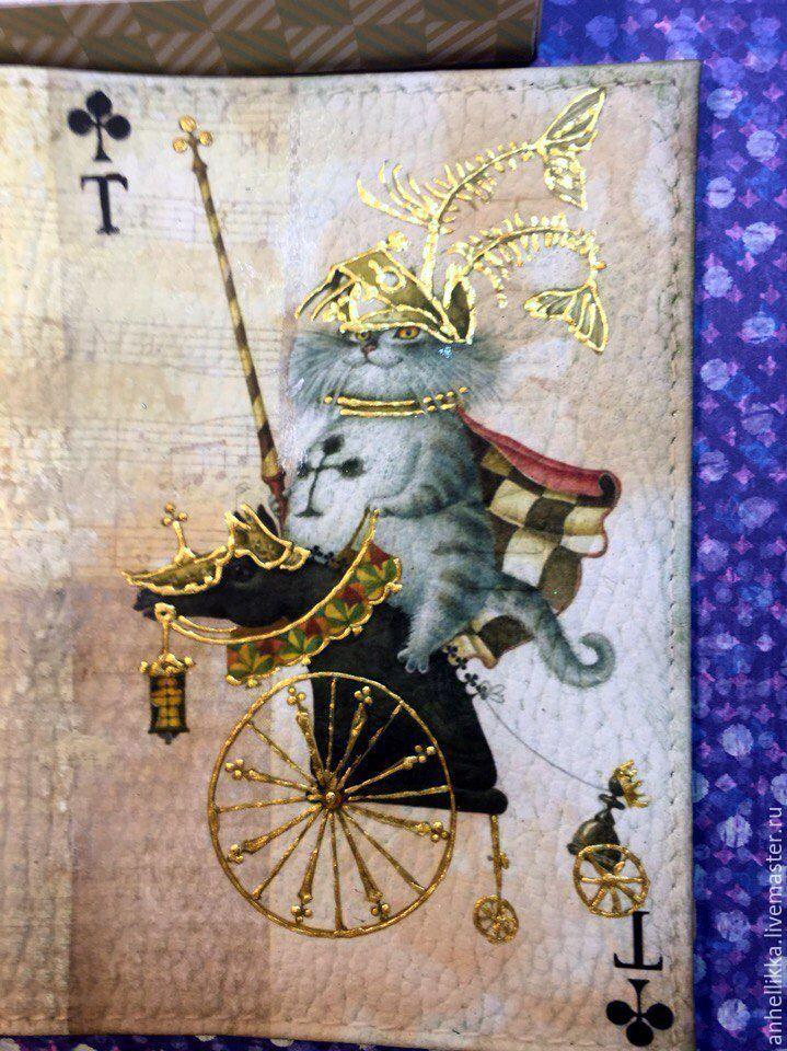 Обложки ручной работы. Ярмарка Мастеров - ручная работа. Купить Обложка для паспорта Королевская рыбалка. Handmade. Кот, обложка на документы