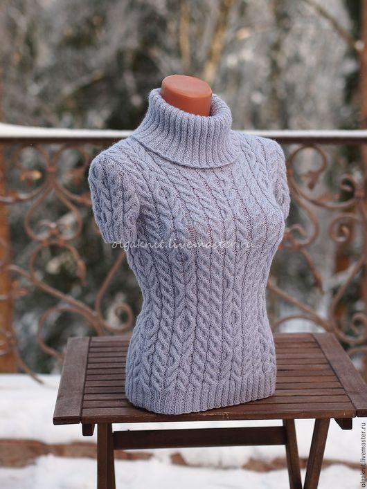 Кофты и свитера ручной работы. Ярмарка Мастеров - ручная работа. Купить Светло-лиловый пуловер в комплекте с митенками. Handmade. Голубой