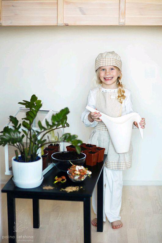 Кухня ручной работы. Ярмарка Мастеров - ручная работа. Купить Фартук и колпак для девочки. Handmade. Бежевый, дети, эко