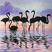 Картины ручной работы. Ярмарка Мастеров - ручная работа Картина Фламинго акварель сиреневый. Handmade.