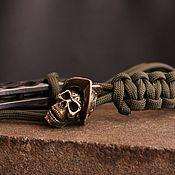 Материалы для творчества handmade. Livemaster - original item Bead lanyard skull bead for knife. Handmade.