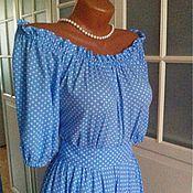 Одежда ручной работы. Ярмарка Мастеров - ручная работа Штапельное платье в пол Горошек на голубом. Handmade.
