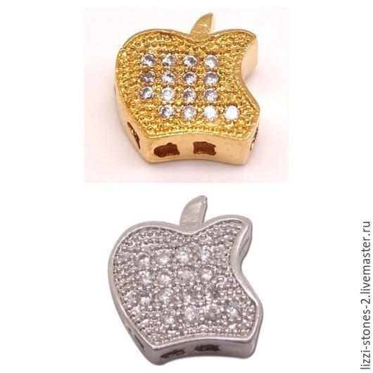 Бусина яблоко Apple серебро и золото (Milano) Евгения (Lizzi-stones-2)