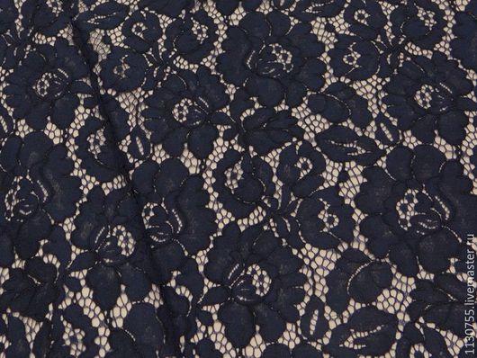 Шитье ручной работы. Ярмарка Мастеров - ручная работа. Купить ткань кружевное полотно  корд т.синее. Handmade.