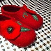 """Обувь ручной работы. Ярмарка Мастеров - ручная работа Тапочки """"Алые маки"""". Handmade."""