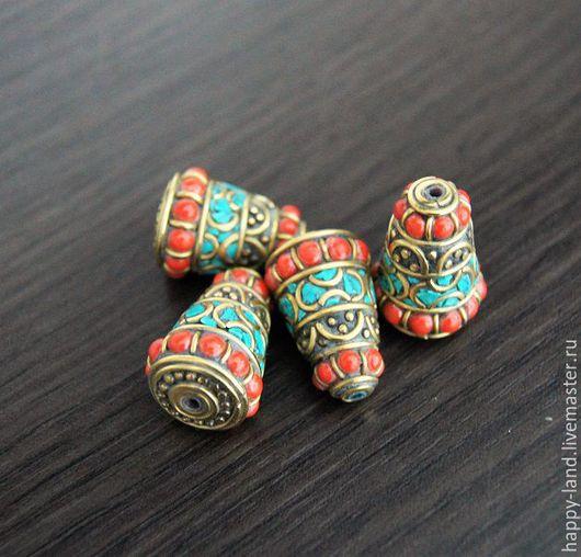 Для украшений ручной работы. Ярмарка Мастеров - ручная работа. Купить Непальская бусина с кораллом и бирюзой. Handmade. Комбинированный