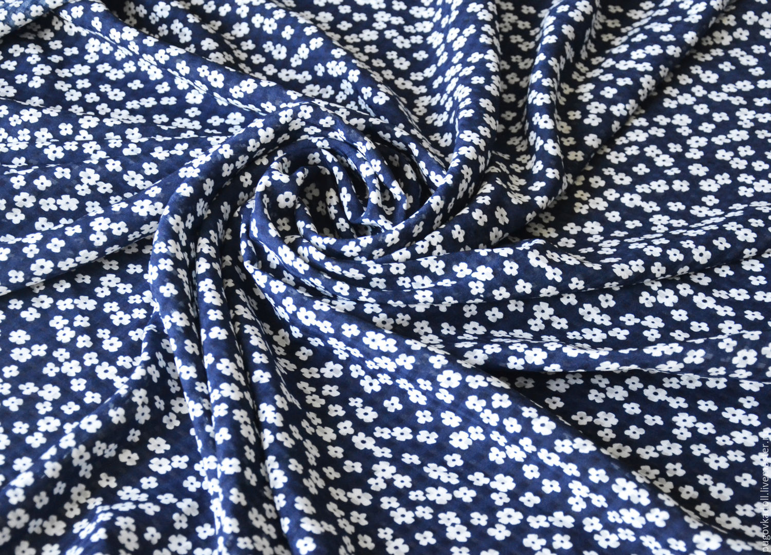 Cotton Daisies on a blue, Fabric, Moscow,  Фото №1