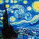 Картина маслом `Ван Гог и Тардис`.