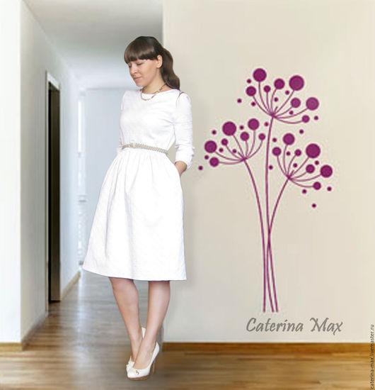 Платья ручной работы. Ярмарка Мастеров - ручная работа. Купить Платье белое, жаккардовое. Handmade. Орнамент, платье летнее, белый