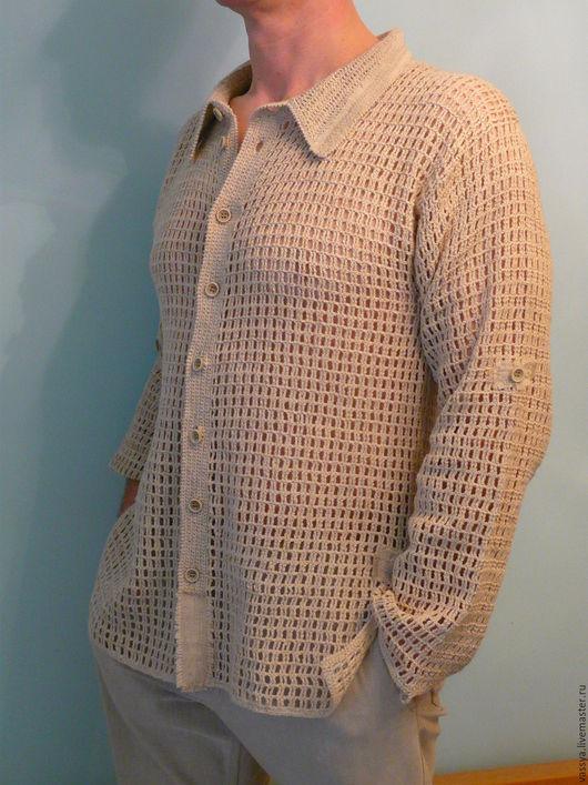 Для мужчин, ручной работы. Ярмарка Мастеров - ручная работа. Купить Вязаная мужская рубашка сетка.. Handmade. Бежевый