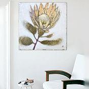 Картины и панно handmade. Livemaster - original item Proteus painting 60h60 cm on canvas (beige, blue, flower). Handmade.