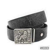 Аксессуары handmade. Livemaster - original item Strap leather the forest with the wolf. Handmade.