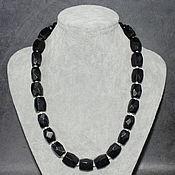 handmade. Livemaster - original item Natural Black Tourmaline and Agate Cut Beads. Handmade.