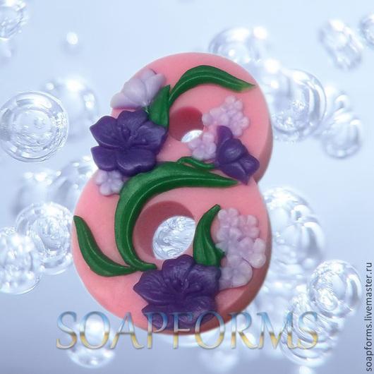 Силиконовая форма для мыла `8 марта` 6 (на фото работа выполненная в мыле)