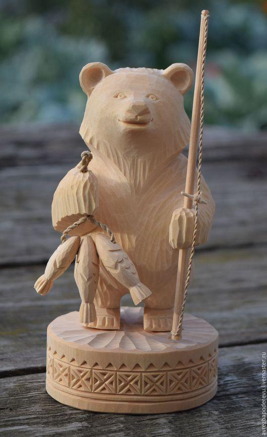 Сувениры ручной работы. Ярмарка Мастеров - ручная работа. Купить Медведь рыбак из дерева. Handmade. Бежевый, медведь рыбак, медвежонок