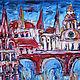 Живописный диптих «Готический город». Левая часть диптиха. Этюдная, объемная живопись.