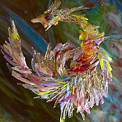 Витражи ручной работы. Ярмарка Мастеров - ручная работа Фьюзинговое панно-райская птица. Handmade.