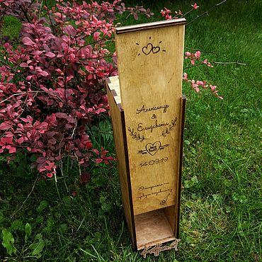 """Свадебный салон ручной работы. Ярмарка Мастеров - ручная работа Ящик  """"винная церемония"""" (коробка, упаковка для вина). Handmade."""