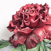 "Украшения handmade. Livemaster - original item Цветы из кожи роза - брошь ""Моника"". Handmade."