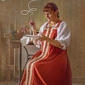 Одежда ручной работы. Ярмарка Мастеров - ручная работа Косоклинный распашной сарафан.. Handmade.