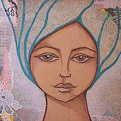 """Картины и панно ручной работы. Ярмарка Мастеров - ручная работа Картина в смешанной технике """"Хранительница Воды"""". Handmade."""