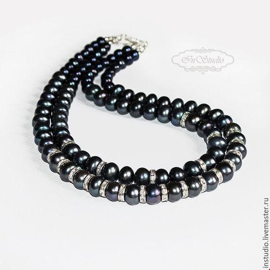 Колье, бусы ручной работы. Ярмарка Мастеров - ручная работа. Купить Ожерелье из черного жемчуга Блек баккара. Handmade. Черный
