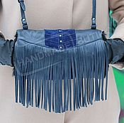 Аксессуары handmade. Livemaster - original item The clutch is made of leather and suede with fur sheepskin Fringe Blue. Handmade.
