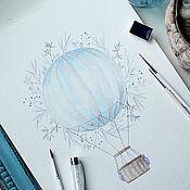 """Картины и панно ручной работы. Ярмарка Мастеров - ручная работа Акварели """"Air Balloon"""". Handmade."""