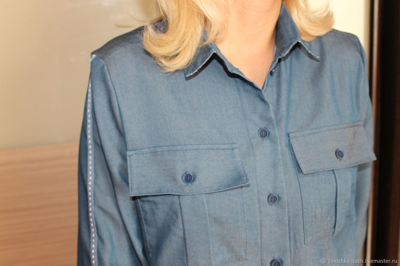509e0f8653d Оксана · Блузки ручной работы. Джинсовая женская рубашка синего цвета с  лампасами на рукавах.