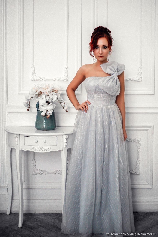 Светло-серое свадебное платье с бантом, Платья, Москва,  Фото №1