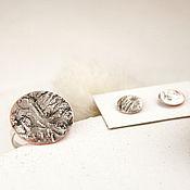 Комплекты украшений ручной работы. Ярмарка Мастеров - ручная работа Комплект украшений из серебра и меди (кольцо и пусеты). Handmade.