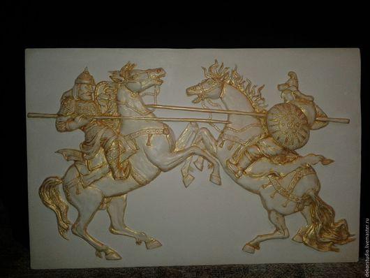 """Люди, ручной работы. Ярмарка Мастеров - ручная работа. Купить Барельеф """"Куликовская битва"""". Handmade. Белый, панно, картина"""