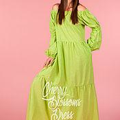 Одежда ручной работы. Ярмарка Мастеров - ручная работа Зеленое макси летнее хлопковое длинное бохо платье с открытыми плечами. Handmade.