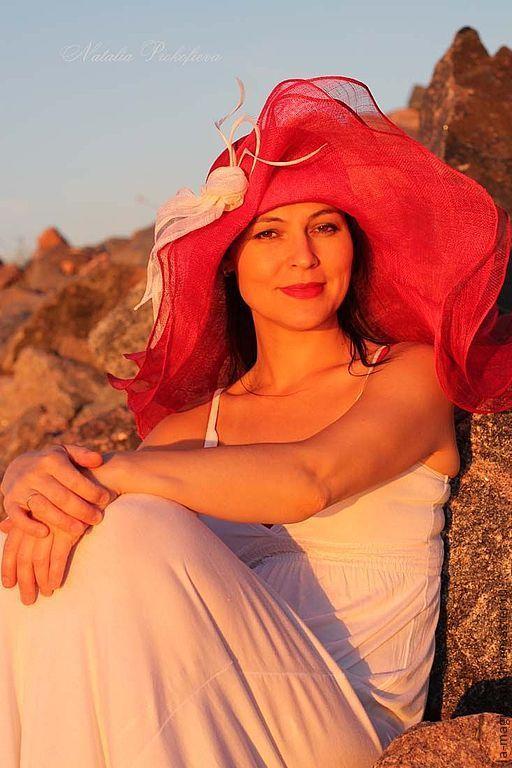 """Шляпы ручной работы. Ярмарка Мастеров - ручная работа. Купить Эксклюзивная шляпка  """"Assol"""" (Ассоль). Handmade. Ярко-красный"""