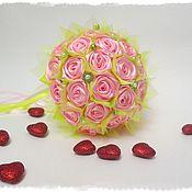 """Свадебный салон ручной работы. Ярмарка Мастеров - ручная работа Брошь-букет """" Розовые розы"""" для невесты. Handmade."""