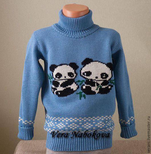 Одежда для мальчиков, ручной работы. Ярмарка Мастеров - ручная работа. Купить Свитер детский из шерсти Панды. Handmade. Голубой