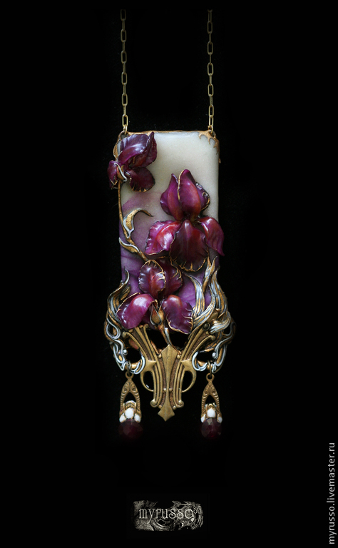Кулоны, подвески ручной работы. Ярмарка Мастеров - ручная работа. Купить Iris de soire. Handmade. Бордовый, символизм, краски