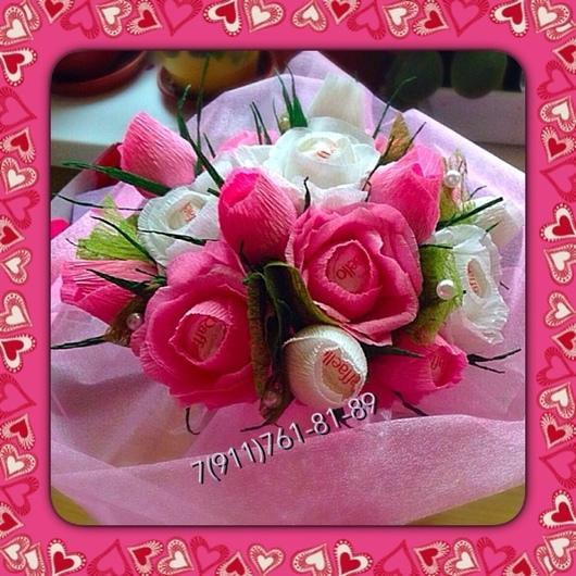 Букеты ручной работы. Ярмарка Мастеров - ручная работа. Купить Букет роз. Handmade. Букет роз, конфетный букет