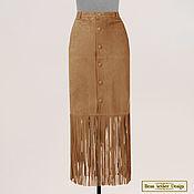 Одежда handmade. Livemaster - original item Cowboy Maxi skirt with fringe, made of natural suede. Handmade.