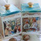 """Для дома и интерьера ручной работы. Ярмарка Мастеров - ручная работа Короба """"Зимние истории. Сказка приходит в дом"""" 2 предмета. Handmade."""