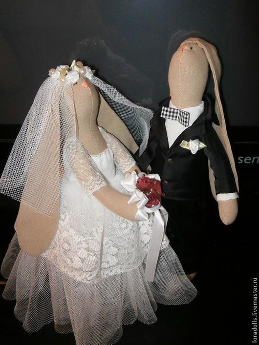 Куклы Тильды ручной работы. Ярмарка Мастеров - ручная работа. Купить свадебная пара зайчиков. Handmade. Свадьба, белый