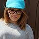 """Кепки ручной работы. Ярмарка Мастеров - ручная работа. Купить кепка валяная turquoise"""". Handmade. Бирюзовый, однотонный, женская кепка"""