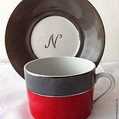 """Посуда ручной работы. Ярмарка Мастеров - ручная работа Чайная пара """"Красное и серое"""". Handmade."""