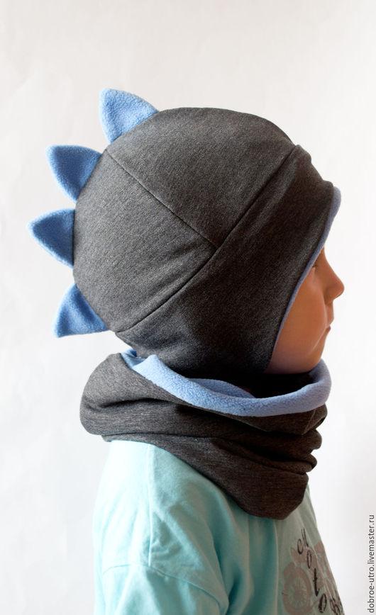 Шапки и шарфы ручной работы. Ярмарка Мастеров - ручная работа. Купить Шапка Динозаврик +снуд. Handmade. Шапка, Дино, снуд