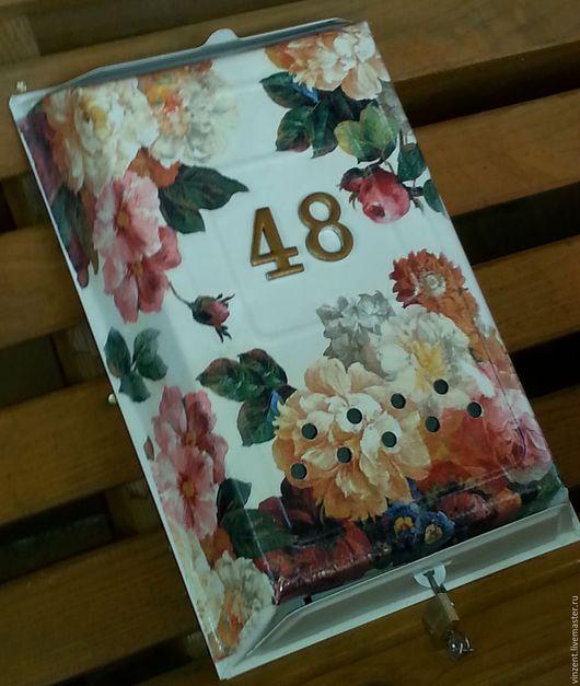 Прихожая ручной работы. Ярмарка Мастеров - ручная работа. Купить Почтовый ящик цветочный. Handmade. Бежевый, почта россии