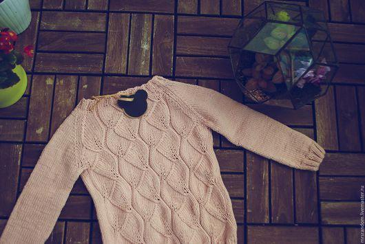 Одежда для девочек, ручной работы. Ярмарка Мастеров - ручная работа. Купить Пуловер хлопок. Handmade. Бледно-розовый, хлопок 100%