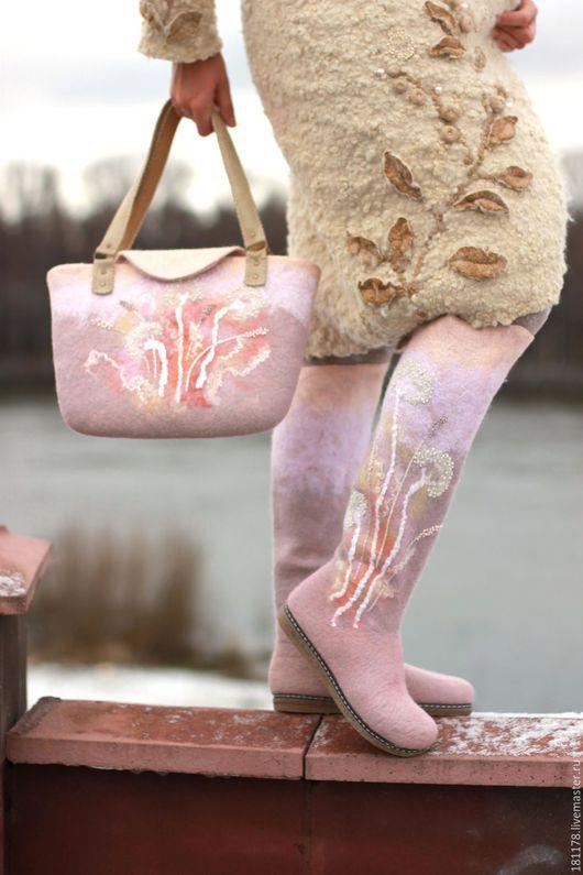"""Обувь ручной работы. Ярмарка Мастеров - ручная работа. Купить Комплект """"Травы"""". Handmade. Кремовый, вискоза"""