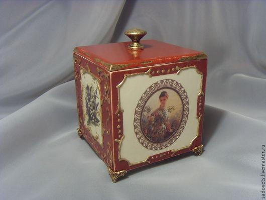 Шкатулки ручной работы. Ярмарка Мастеров - ручная работа. Купить Шкатулка короб для украшений декупаж терракотовый цвет. Handmade.